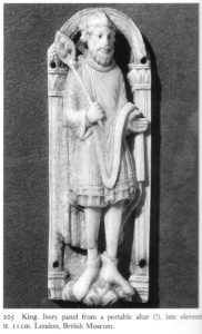 King. Ivory panel from a portable alter, late 11th cent. (Lasko p.150)