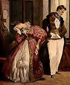 """The Parting"", by Deyeria, c.1835 in Max von Boehn's Modes and Manners of the 19th Century http://www.costumes.org/pages/regentfashplates.htm"