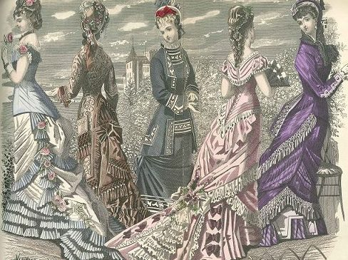 1877 fashion plate from Godey's Ladies Book.