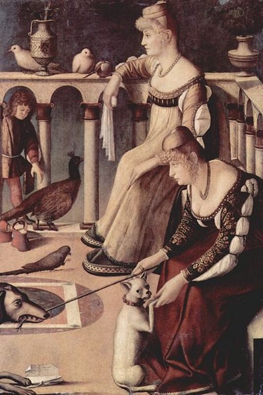 """Two Venetian Ladies on a Terrace"" by Vittore Carpaccio C. 1495. Oil on panel Museo Civico Correr, Venice.ARTstor."