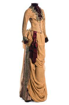 Linen Forming, Apron Drapery, Brown Faille, Matching Linen, Circa 1880, 1880 S, 1880 Tan, Era 1880, Weave Linen