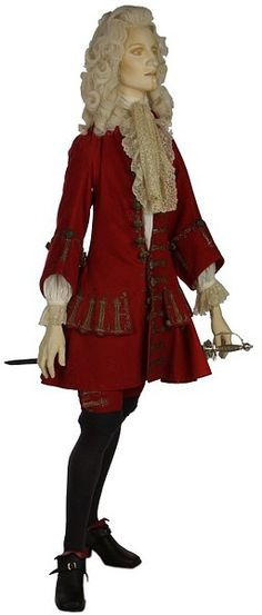 A young man's/older boy's coat and breeches, 1705-15, English; Red wool, silver embroidery, mended 1710-20, altered 1852. Victoria & Albert Museum, London, England