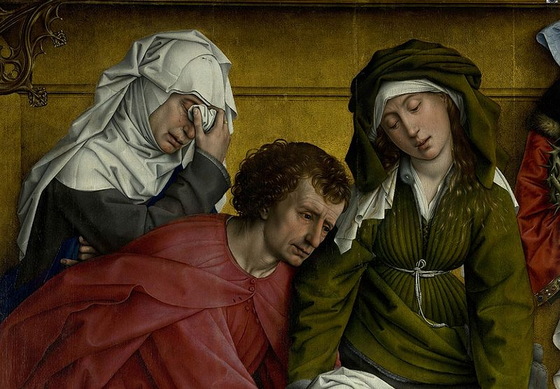 """Detail Mary of Clopas, Saint John the Evangelist and Mary Salome from the Rogier van der Weyden painting """"Descent from the Cross"""" -"""
