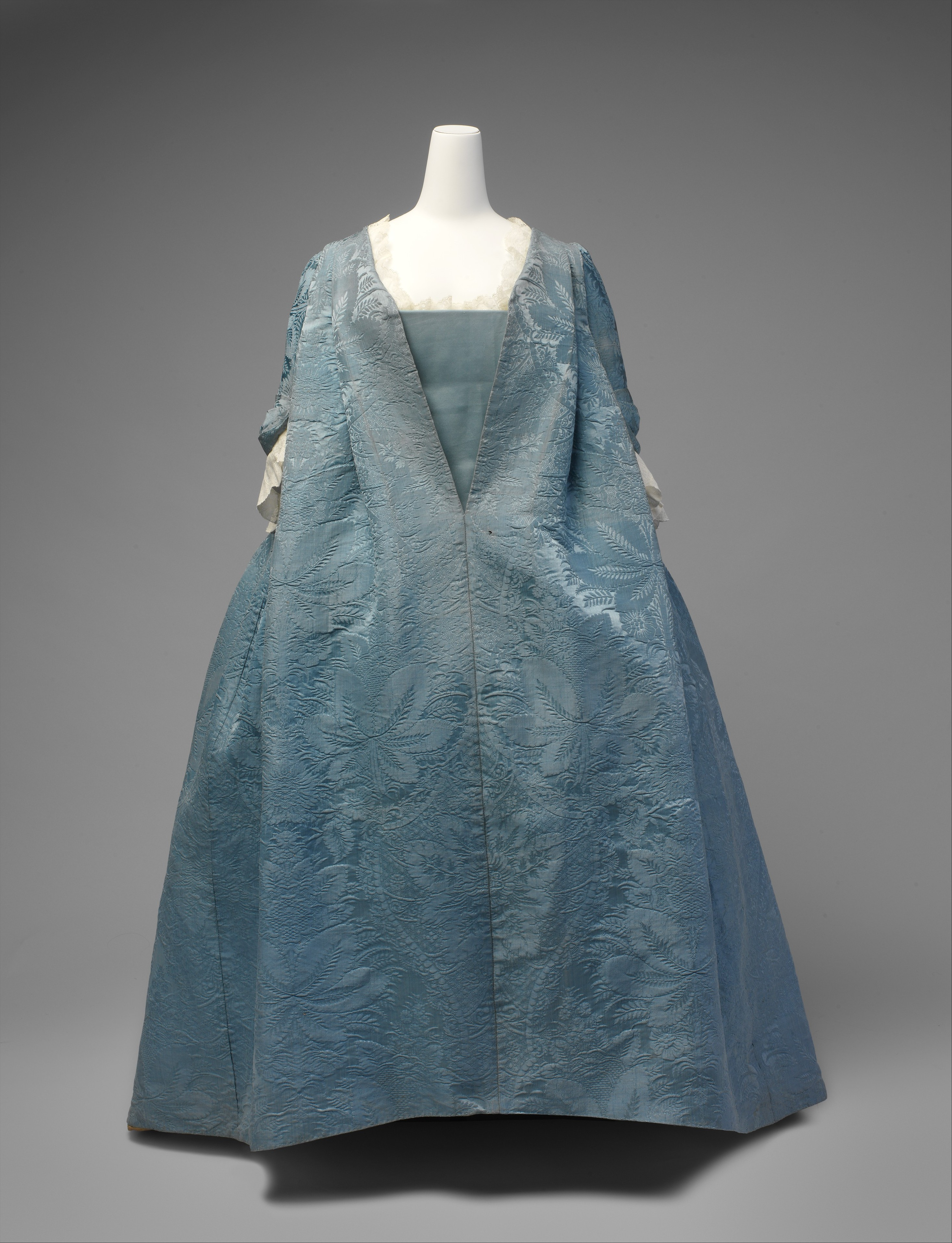 Extant Blue Silk Robe Volante. C. 1730. The Metropolitan Museum of Art, New York.