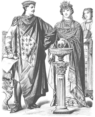 Emperor Justinian with Empress Theodora of the Eastern Roman Empire (Byzantium) 500s AD. Etching published in Historic Costume in Pictures by Braun & Schneider, Dover Publications.
