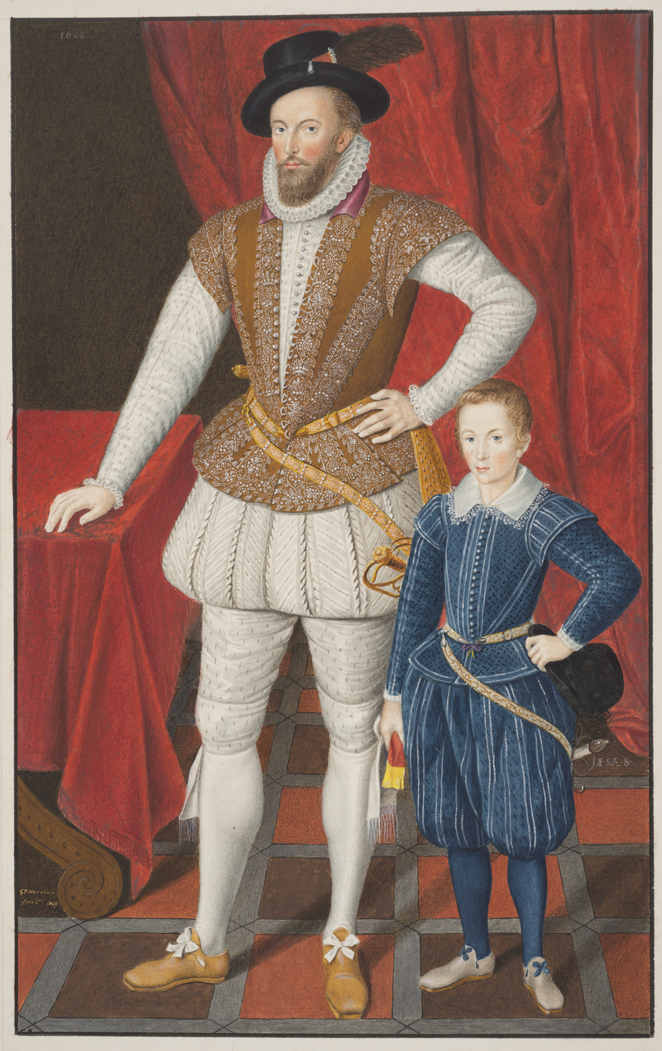 Sir Walter Raleigh and his son. 1602. National Portrait Gallery. London. England