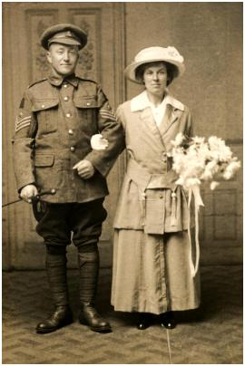 Patrick told me that this was a WWI Canadian soldier's wedding of a Canadian Machine Gun Corps sergeant with his new bride in York, Yorkshire.