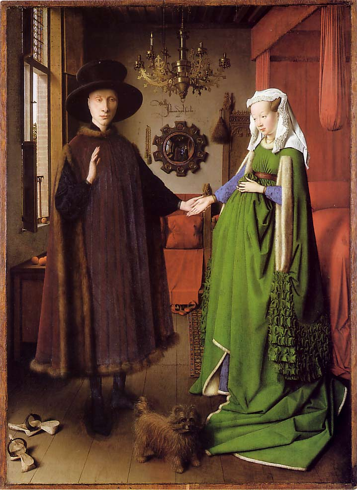"""""""The betrothal of the Arnolfini"""" by Jan van Eyck. Oil on Wood. Photo from E.H. Gombrich, """"The Story of Art"""""""