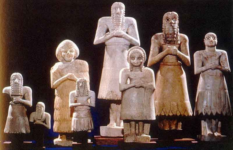 Votive Statues, from the Temple of Abu, Tell Asmar c.2500 BC, limestone, shell, and gypsum. http://www.crystalinks.com/sumerart.html