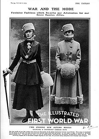 War and the Mode - Russian influenced fashions in The Tatler, 6 October 1915. © Illustrated London News Ltd/Mary Evans